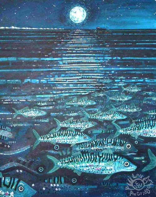 Mackerel Fishing Off The Sussex Coast At Night