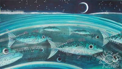Turquoise Mackerel with a Skinny Moon