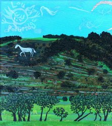 White Horse of Litlington Turquoise Sky