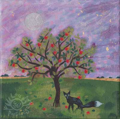 The black fox in the apple orchard